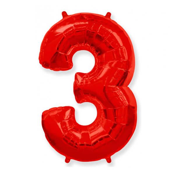 Фольгированный шар 102 см Цифра 3 (Красный)