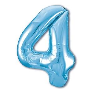 Фольгированный шар 102 см Цифра 4 (Голубой)