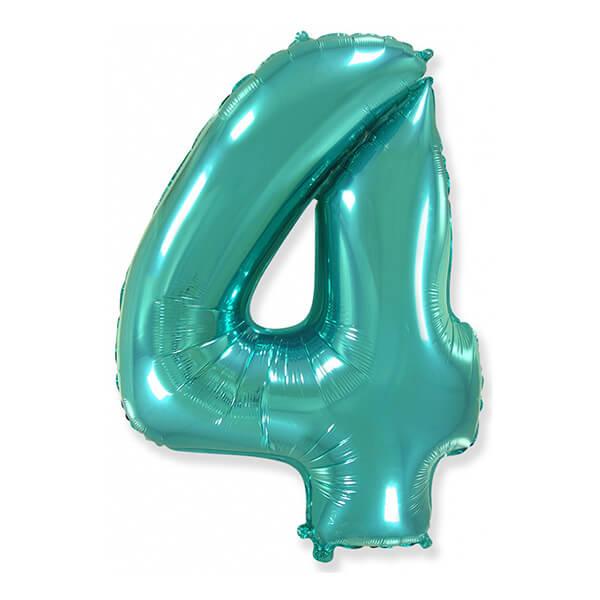 Фольгированный шар 102 см Цифра 4 (Тиффани)
