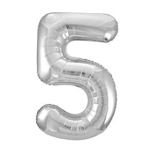 Фольгированный шар 102 см Цифра 5 (Серебро)