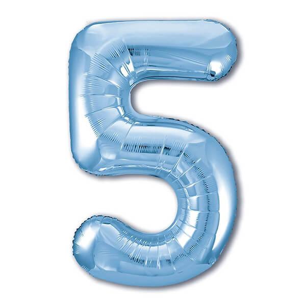 Фольгированный шар 102 см Цифра 5 (Голубой)