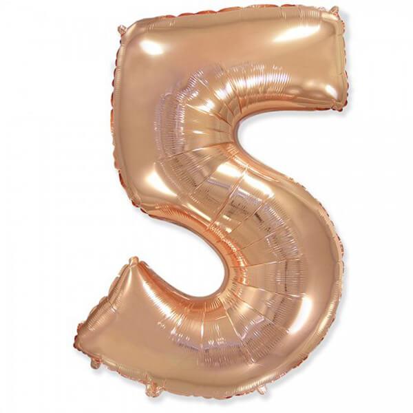 Фольгированный шар 102 см Цифра 5 (Розовое Золото)