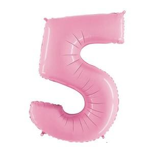 Фольгированный шар 102 см Цифра 5 Пастель (Розовый)
