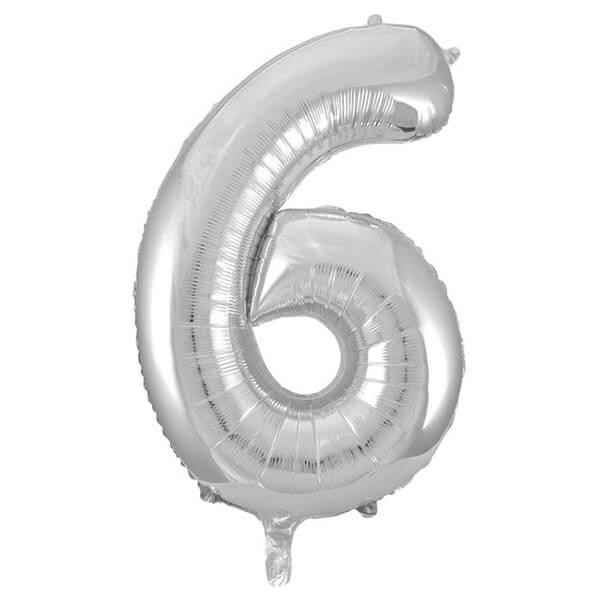 Фольгированный шар 102 см Цифра 6 (Серебро)