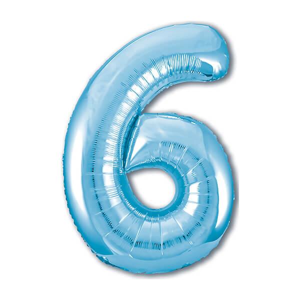 Фольгированный шар 102 см Цифра 6 (Голубой)