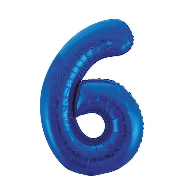 Фольгированный шар 102 см Цифра 6 (Синий)