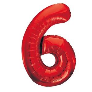Фольгированный шар 102 см Цифра 6 (Красный)