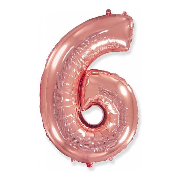 Фольгированный шар 102 см Цифра 6 (Розовое Золото)