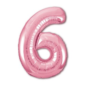 Фольгированный шар 102 см Цифра 6 (Фламинго)