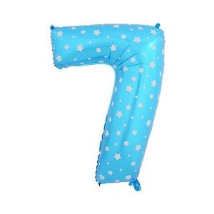 Фольгированный шар 102 см Цифра 7 Звезды (Синий)