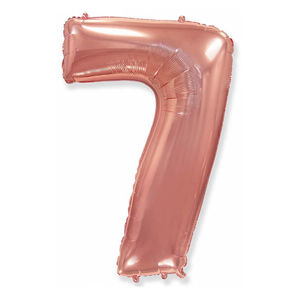 Фольгированный шар 102 см Цифра 7 (Розовое Золото)