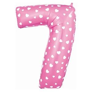 Фольгированный шар 102 см Цифра 7 Сердца (Розовый)