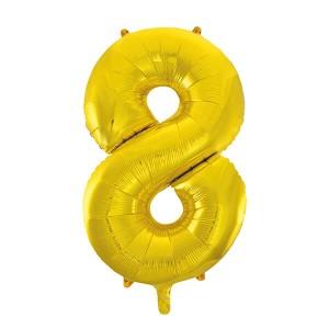Фольгированный шар 102 см Цифра 8 (Золото)