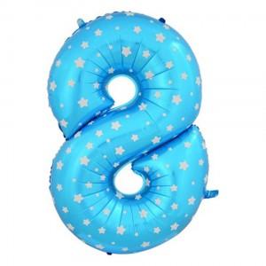Фольгированный шар 102 см Цифра 8 Звезды (Синий)