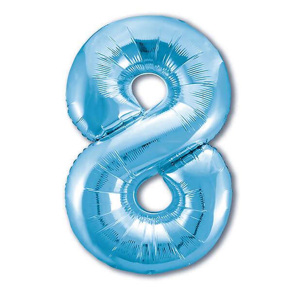 Фольгированный шар 102 см Цифра 8 (Голубой)