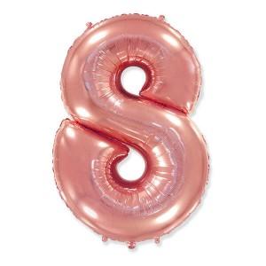 Фольгированный шар 102 см Цифра 8 (Розовое Золото)