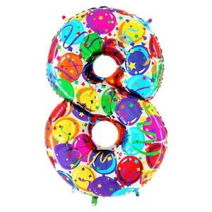 Фольгированный шар 102 см Цифра 8 Шары (Разноцветный)