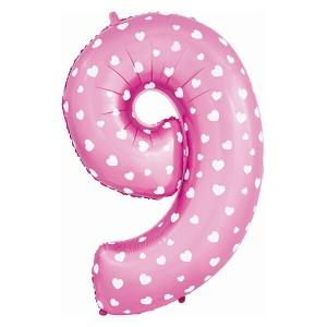 Фольгированный шар 102 см Цифра 9 (Розовый)