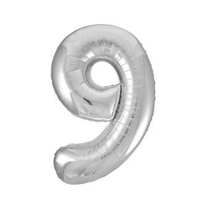 Фольгированный шар 102 см Цифра 9 (Серебро)