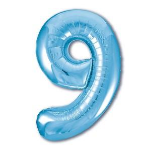 Фольгированный шар 102 см Цифра 9 (Голубой)