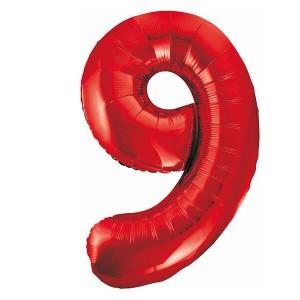 Фольгированный шар 102 см Цифра 9 (Красный)