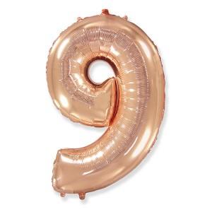 Фольгированный шар 102 см Цифра 9 (Розовое Золото)
