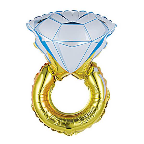 Фольгированный шар 102 см Кольцо с бриллиантом (Золотой)