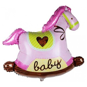 Фольгированный шар 91 см Лошадка (Розовый)