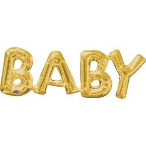 Фольгированный шар 63 см Baby (Золотой)