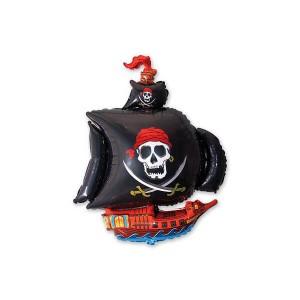 Фольгированный шар 104 см Пиратский корабль (Черный)