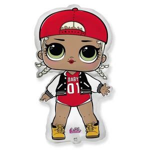 Фольгированный шар 84 см Кукла LOL Модная подружка (Красный)