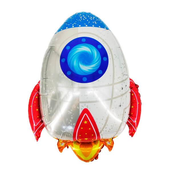 Фольгированный шар 61 см Ракета (Белый)