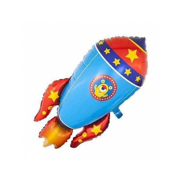 Фольгированный шар 90 см Ракета (Голубой)