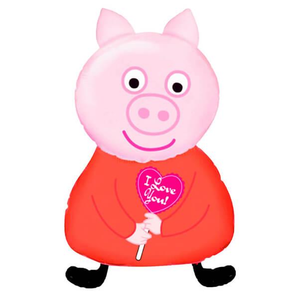 Фольгированный шар 81 см Поросенок с сердцем (Розовый)