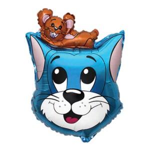 Фольгированный шар 69 см Кот и Мышь (Голубой)