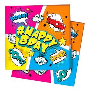Салфетки 24х24 см Комиксы #HappyBday 12 шт