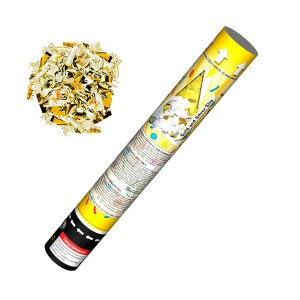 Хлопушка пневматическая 100*1 Золото/Серебро конфетти 30 см