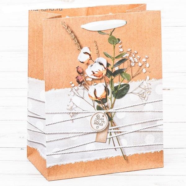 Пакет крафтовый вертикальный «Нежность для тебя», ML 23 × 27 × 11,5 см