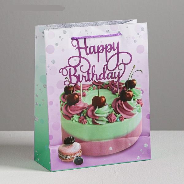 Пакет ламинированный вертикальный Happy Birthday, MS 18 × 23 × 8 см