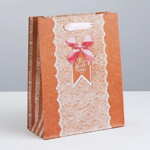 Пакет крафтовый вертикальный «Тебе нежной», M 26 × 30 × 9 см
