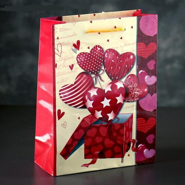 Пакет ламинированный «Сердечки», 18 х 23 х 8,5 см
