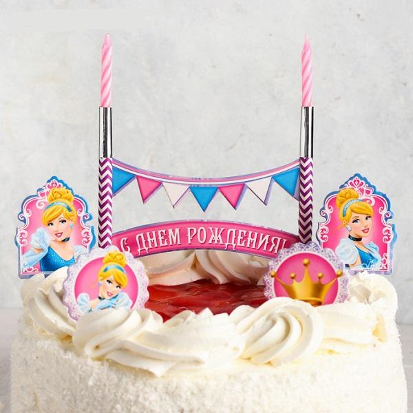 """Свеча в торт Дисней """"С Днем Рождения"""" 2 свечи + топперы, Принцессы: Золушка"""