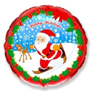 Шар (18''/46 см) Круг, Скользящий Санта, Красный