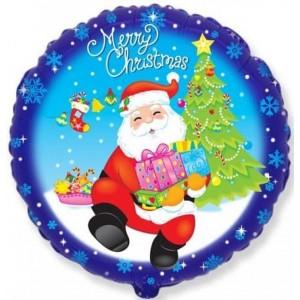 Шар (18''/46 см) Круг, Санта с подарками, Синий