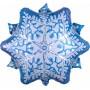 Шар (20''/51 см) Фигура, Снежинка, Голубой/Серебро