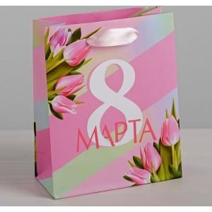Пакет ламинированный вертикальный «8 Марта», ML 23 × 27 × 8 см