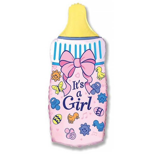 Шар (31''/79 см) Фигура, Бутылочка для девочки, Розовый, 1 шт.