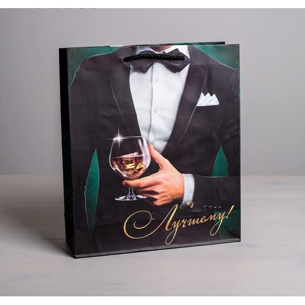 Пакет ламинированный вертикальный «Лучшему!», ML 23 × 27 × 8 см